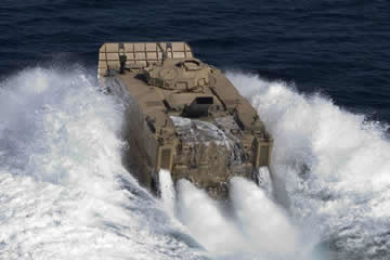 Expeditionary Fighting Vehicle skimming the water