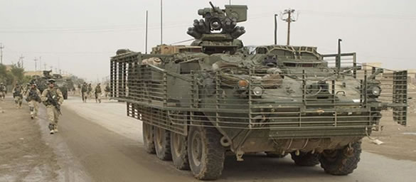 A Stryker Brigade patrolling the streets of Iraq