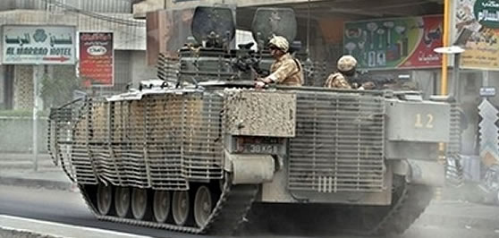 Warrior in Iraq covered in BAR armour