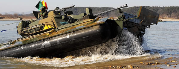 Korean K21 exiting water, notice large airbag running along the side
