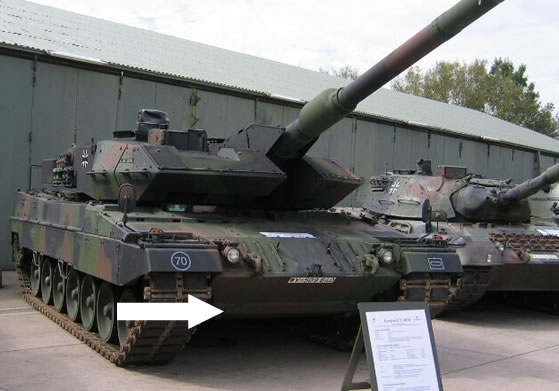 The Leopard 2A6M, arrow is pointing at the Mine Plate