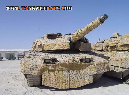 A Leopard 2A5DK with Swedish-made Barracuda camouflage mats, that serve to limit the absorption of solar heat, thus reducing infrared signature and interior temperature