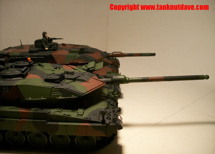 Forground Revell Leopard 2 A6 model tank, background Tamiya Leopard 2 A5
