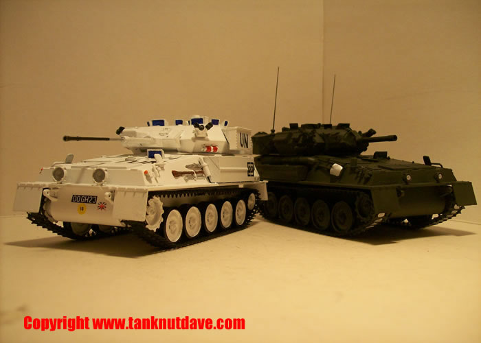 AFV club Scimitar model tank left, AFV club Scorpion model tank right