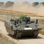 SCOUT SV pre-production prototype, a PMRS variant, demonstrates its mobility during roll-out in Seville, Spain - June 2014